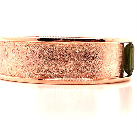 rose gold bar set green sapphire custom men's gents band side view