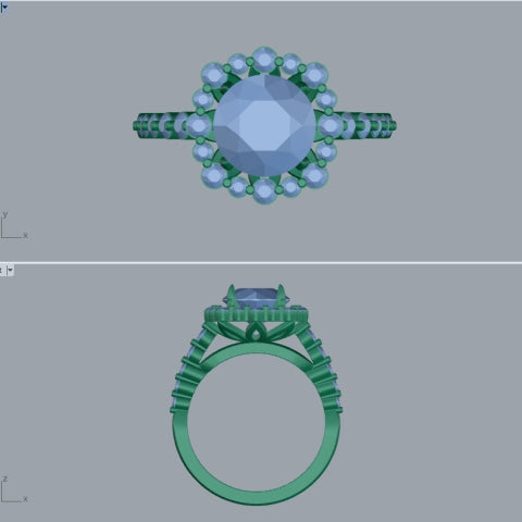 custom diamond halo engagement ring CAD computer aided design screenshot