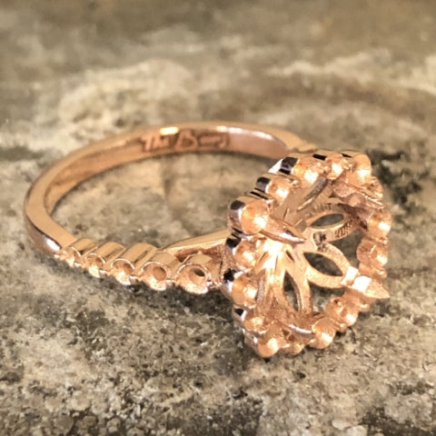 custom rose gold diamond halo engagement ring raw casting 14k jeweler bench jewelry