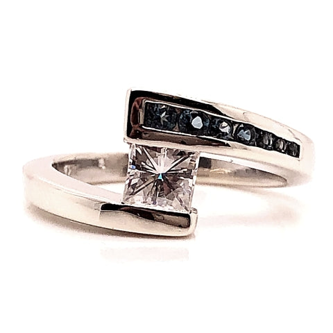 white gold bypass faux fake tension set square moissanite with channel set london blue topaz accents engagement ring