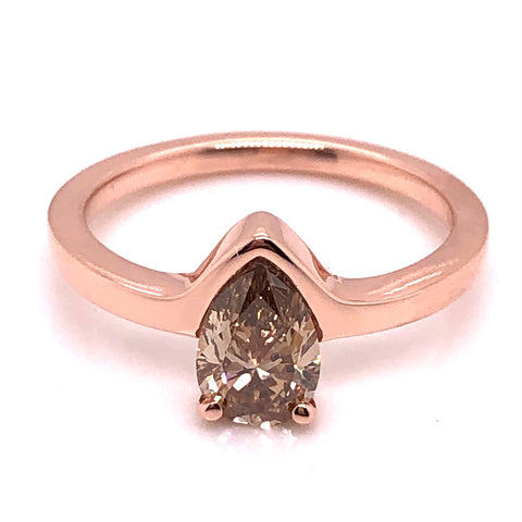 rose gold partial bezel and prong set champagne pear shape diamond custom engagement ring