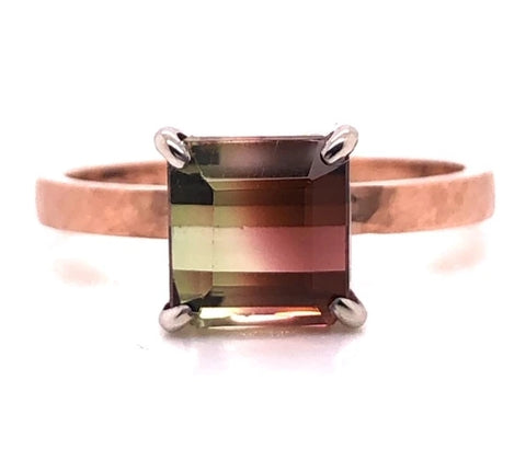 watermelon tourmaline rose gold hammered finish prong set custom ring