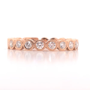 14k Rose Gold Bezel Diamond Satin Stack Ring - CaleesiDesigns