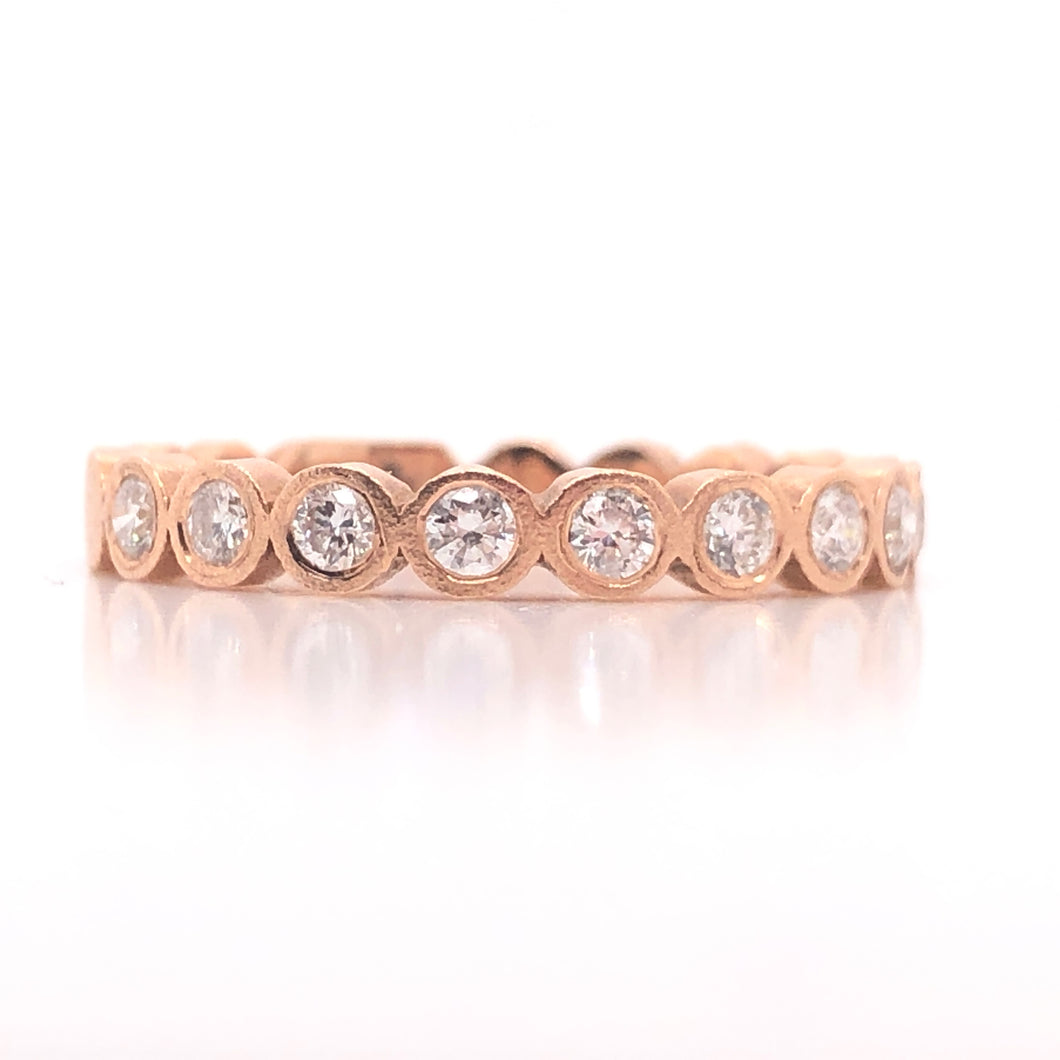 14kt rose gold diamond bezel set stack ring-size to fit-14kt rose gold