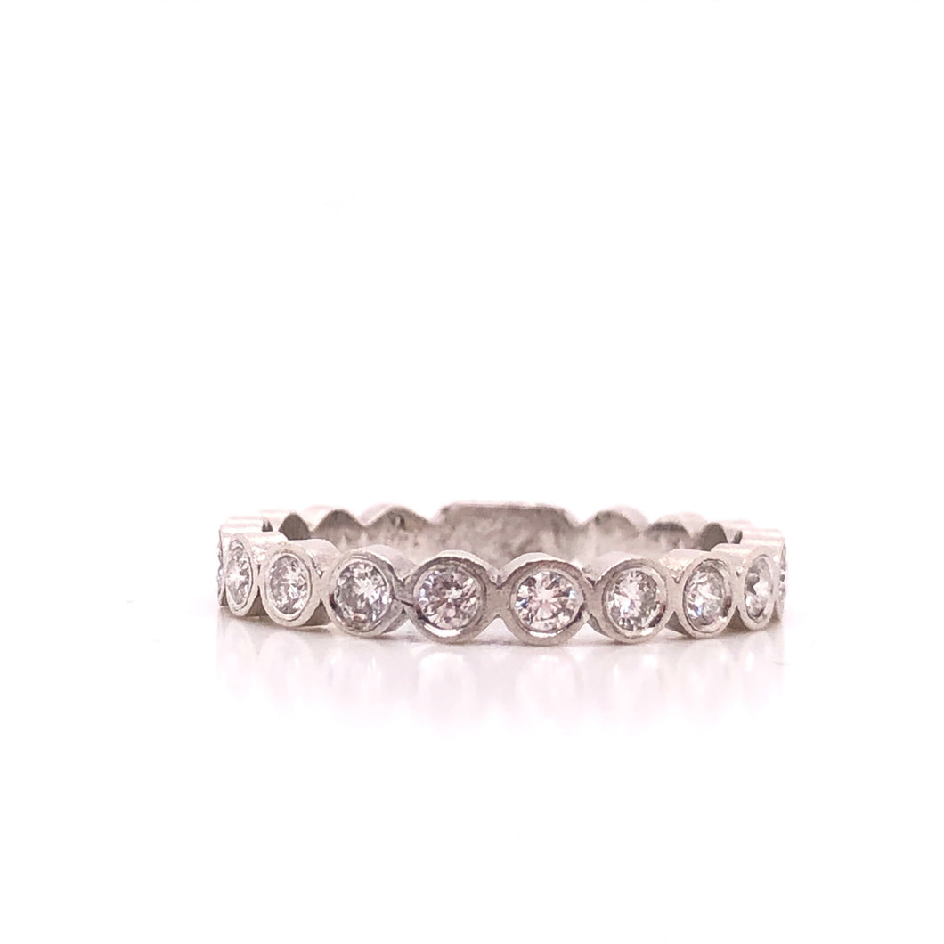 White Gold Diamond Bezel Satin Stack Ring - CaleesiDesigns