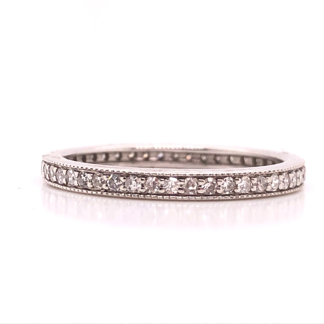 White Gold Diamond Milgrain Eternity Stack Ring - CaleesiDesigns