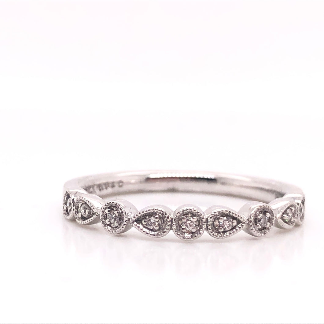 Round and Pear Diamond Milgrain Stack Ring - CaleesiDesigns