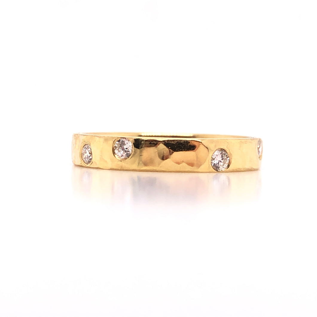 Hammered Scatter Diamond Band - CaleesiDesigns