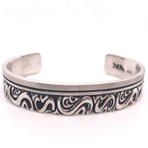 sterling silver cuff bracelet with scroll design-rhodium plated so it wont tarnish