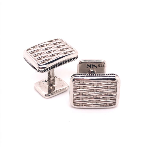 sterling silver classic basket weave cufflinks-rhodium plated so it wont tarnish