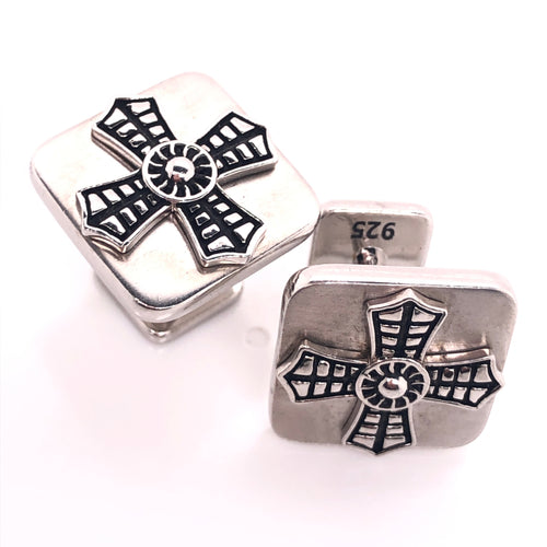 cufflink-sterling silver-cross-design-fashionable