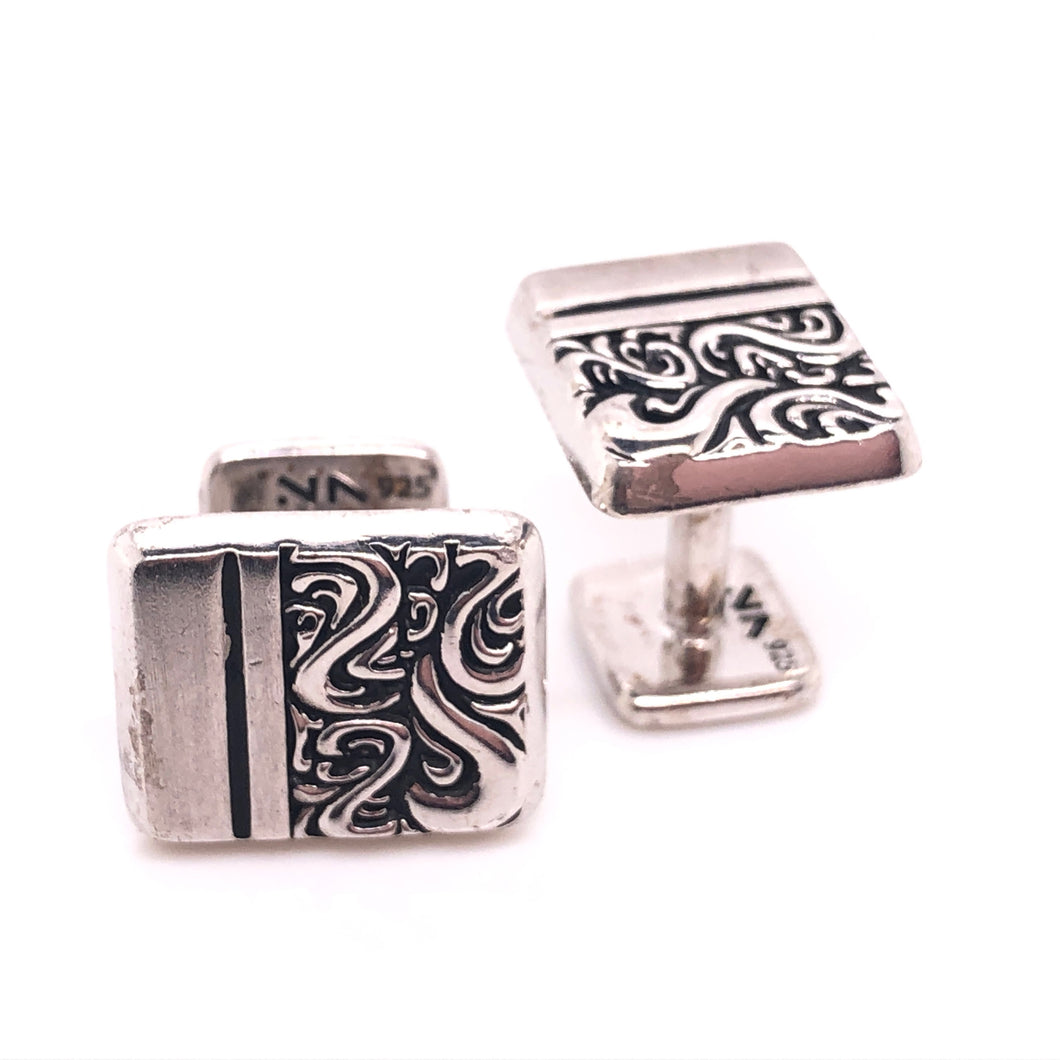 sterling silver classic scroll cufflinks-rhodium plated so they wont tarnish