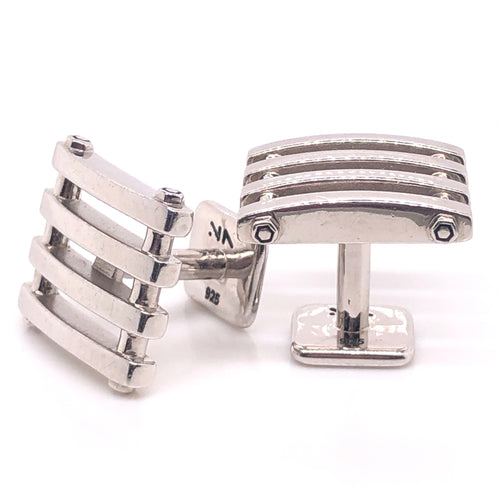 sterling silver fence cufflinks - rhodium plated - no tarnish