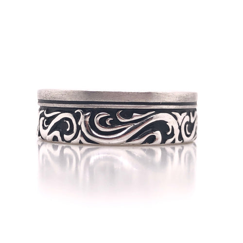 sterling silver scroll ring-rhodium plated so it wont tarnish