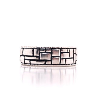 sterling silver mens brick paver ring-rhodium plated-wont tarnish