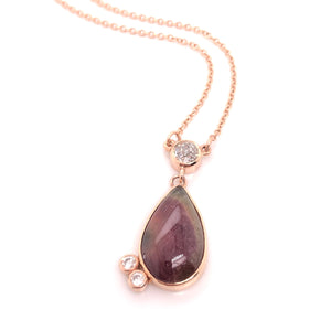 Watermelon Tourmaline Rose Gold Necklace - CaleesiDesigns