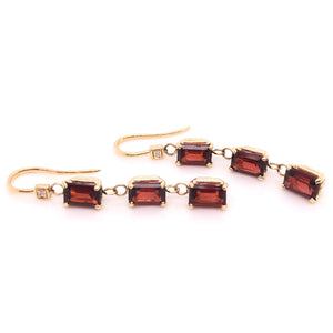 Triple Stack Garnet Earrings - CaleesiDesigns