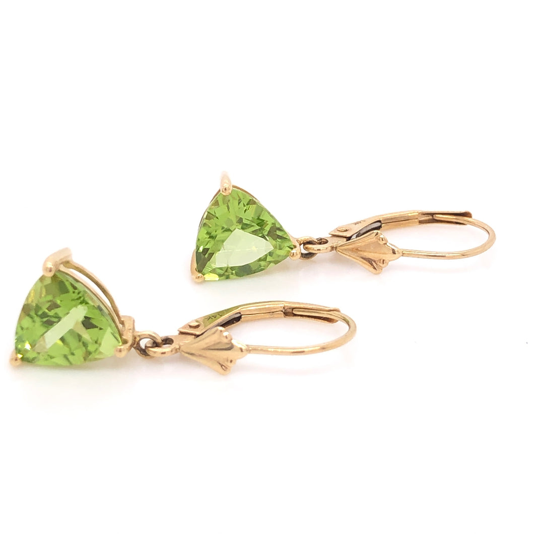 Trillion Peridot Dangle Earrings - CaleesiDesigns