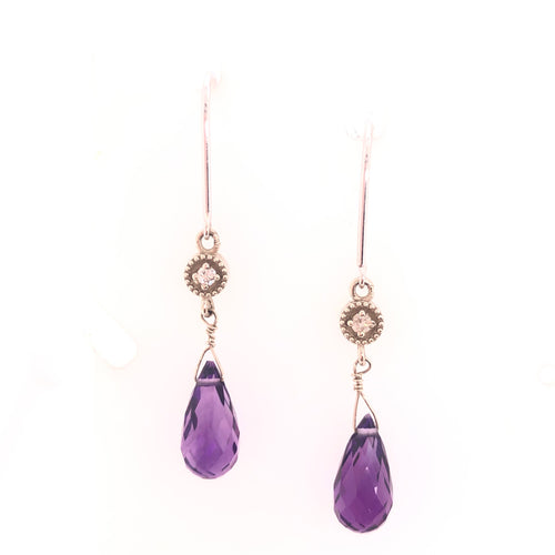 purple drop amethyst dangle earrings with diamonds-14kt white gold-milgrain bezel