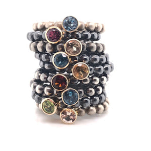 fun oxadized bubble stack rings with bezel set colored stones