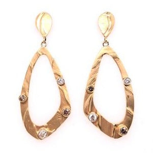 Gold Diamond Loop Earrings