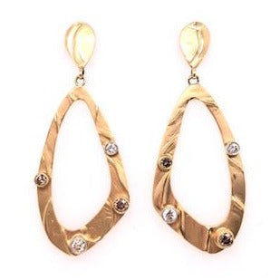 Gold Diamond Loop Earrings - CaleesiDesigns