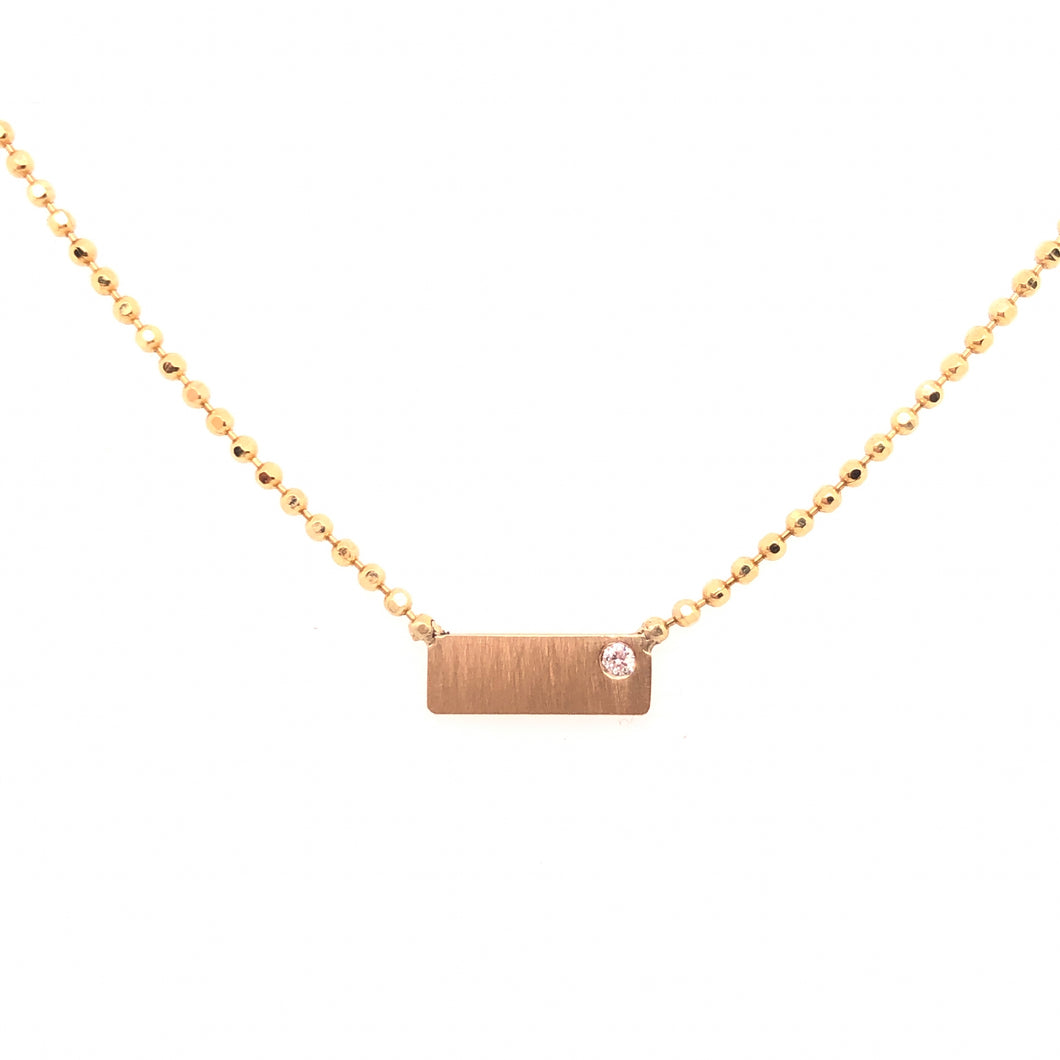 Single Diamond Bar Necklace