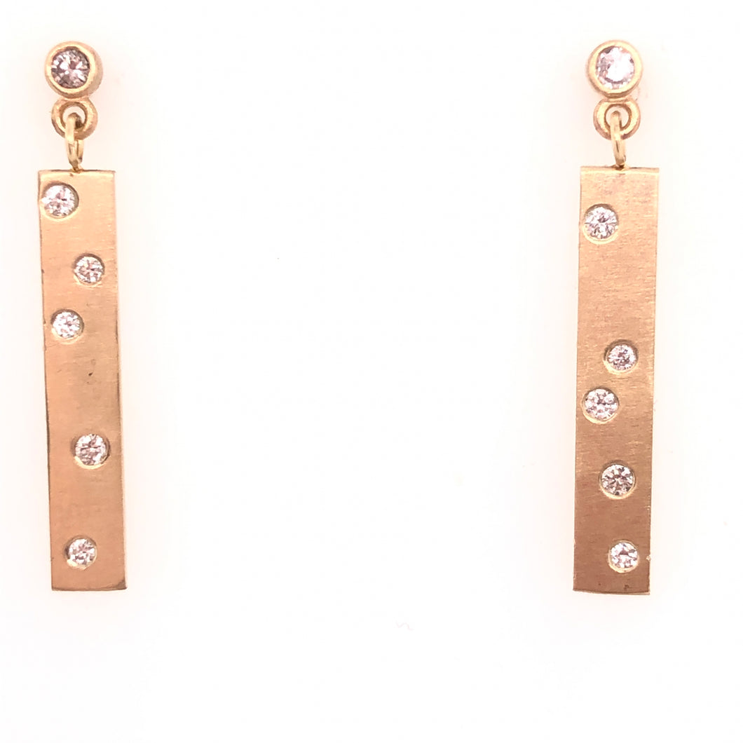 satin finish- custom made- diamonds- earrings- dangle- uniqu- fine jewelry