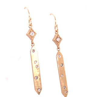 14kt Gold Diamond Kite Shaped Bar Dangle Earrings - CaleesiDesigns