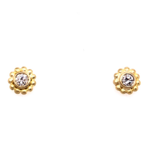 diamond-diamond studs-custom made-hand fabricated-flower shape-yellow gold studs-diamond earrings-diamond studs-custom design-one of a kind