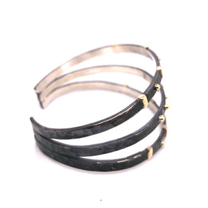 14kt and Oxidized Silver Triple Cuff - CaleesiDesigns