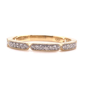 Yellow Gold Geometric Diamond Milgrain Stack Ring - CaleesiDesigns