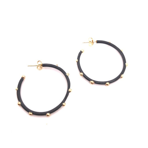 Oxidized Sterling Silver and 14kt Gold Hoop Earrings