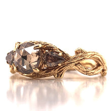 Load image into Gallery viewer, 14k Yellow Gold Champagne Diamond Twig Ring - CaleesiDesigns