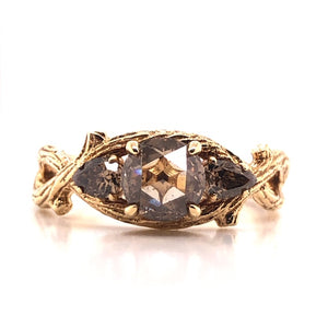 14k Yellow Gold Champagne Diamond Twig Ring - CaleesiDesigns