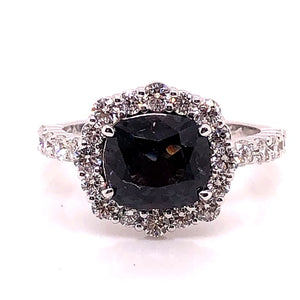 Grey Spinel Diamond Halo Ring - CaleesiDesigns