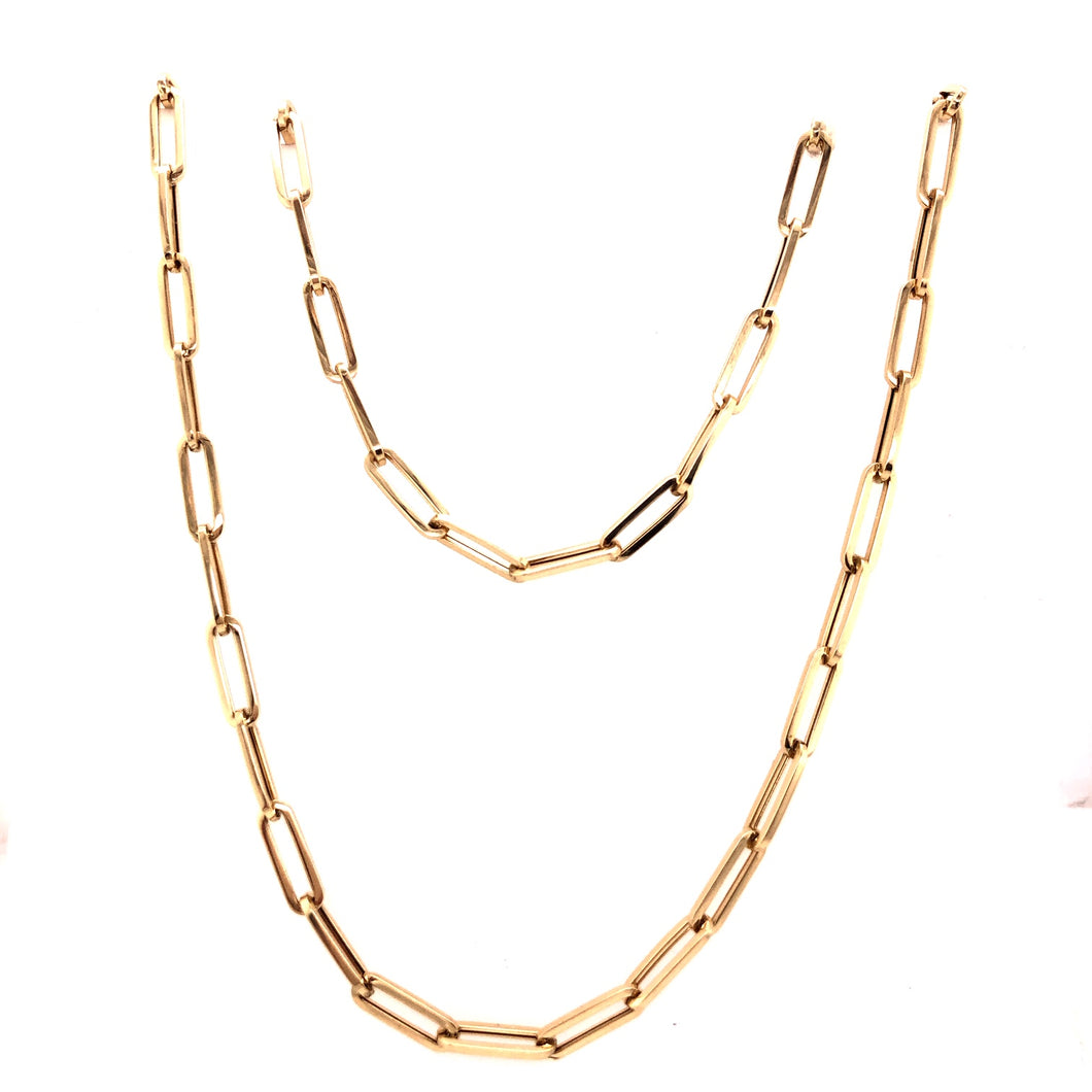 Yellow Gold Paperclip Chain - CaleesiDesigns