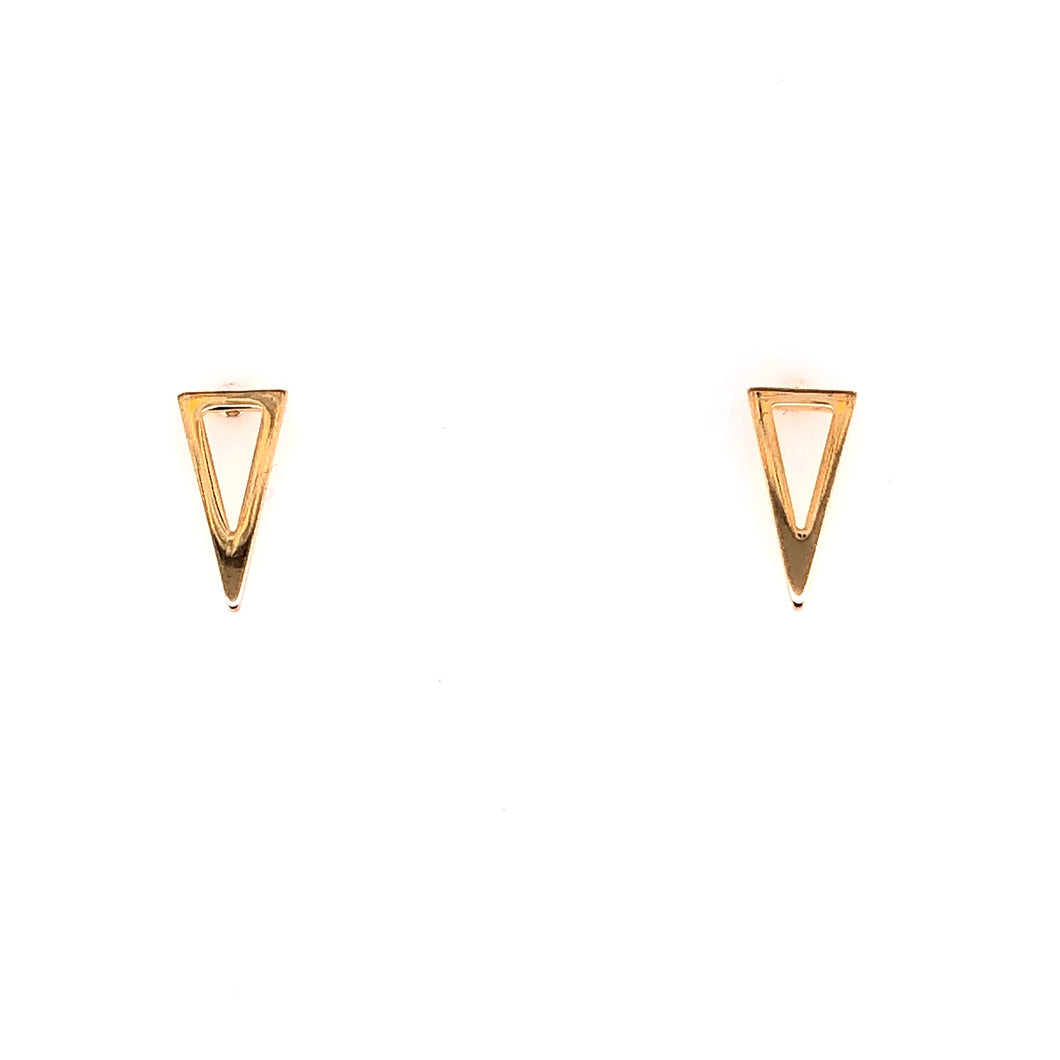 Pyramid Yellow Gold Stud Earrings