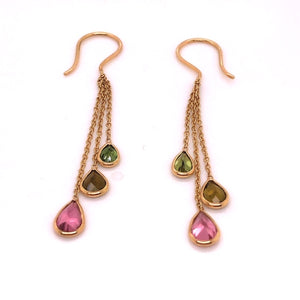 18kt Gold Pink and Green Tourmaline Chain/Bezel Dangle Earrings