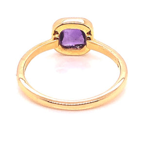 18kt Gold Amethyst Stackable Bezel Ring - CaleesiDesigns