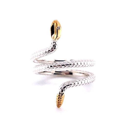 Diamond Eye Snake Ring