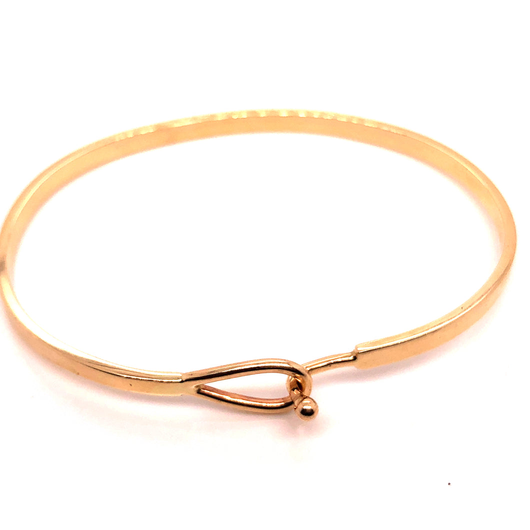 14kt Gold Hook Bangle Bracelet - CaleesiDesigns
