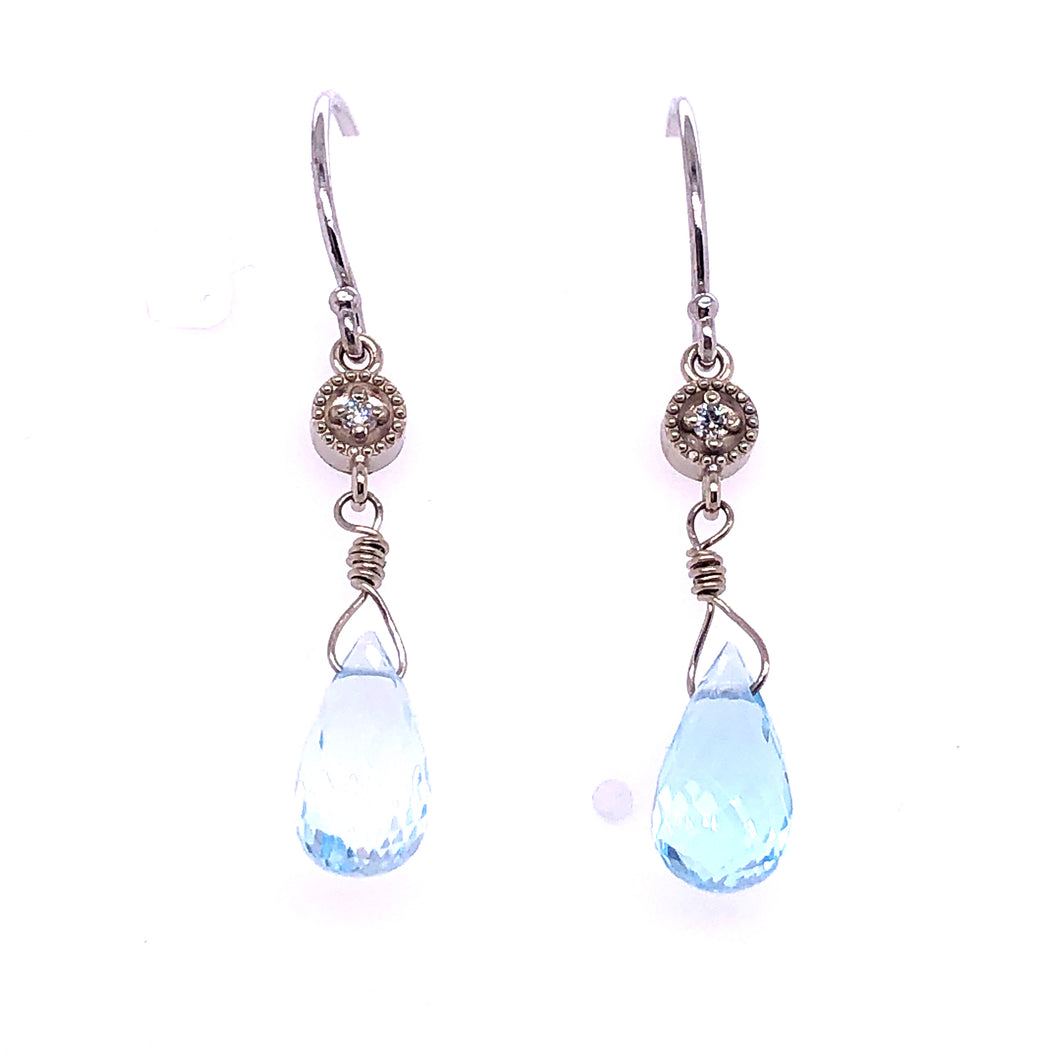 Sky Blue Topaz Briolette Diamond Earrings - CaleesiDesigns