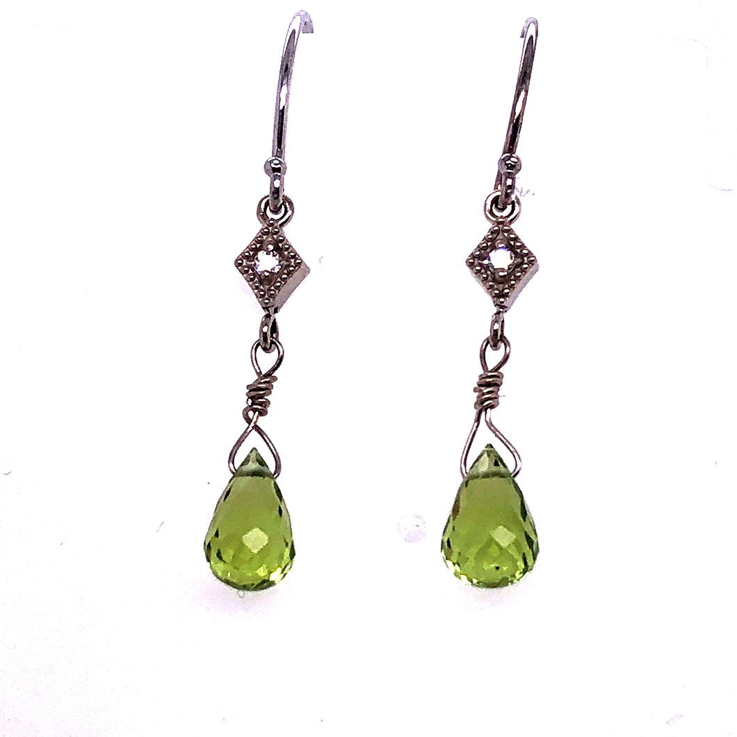 Peridot Briolette Diamond Earrings - CaleesiDesigns