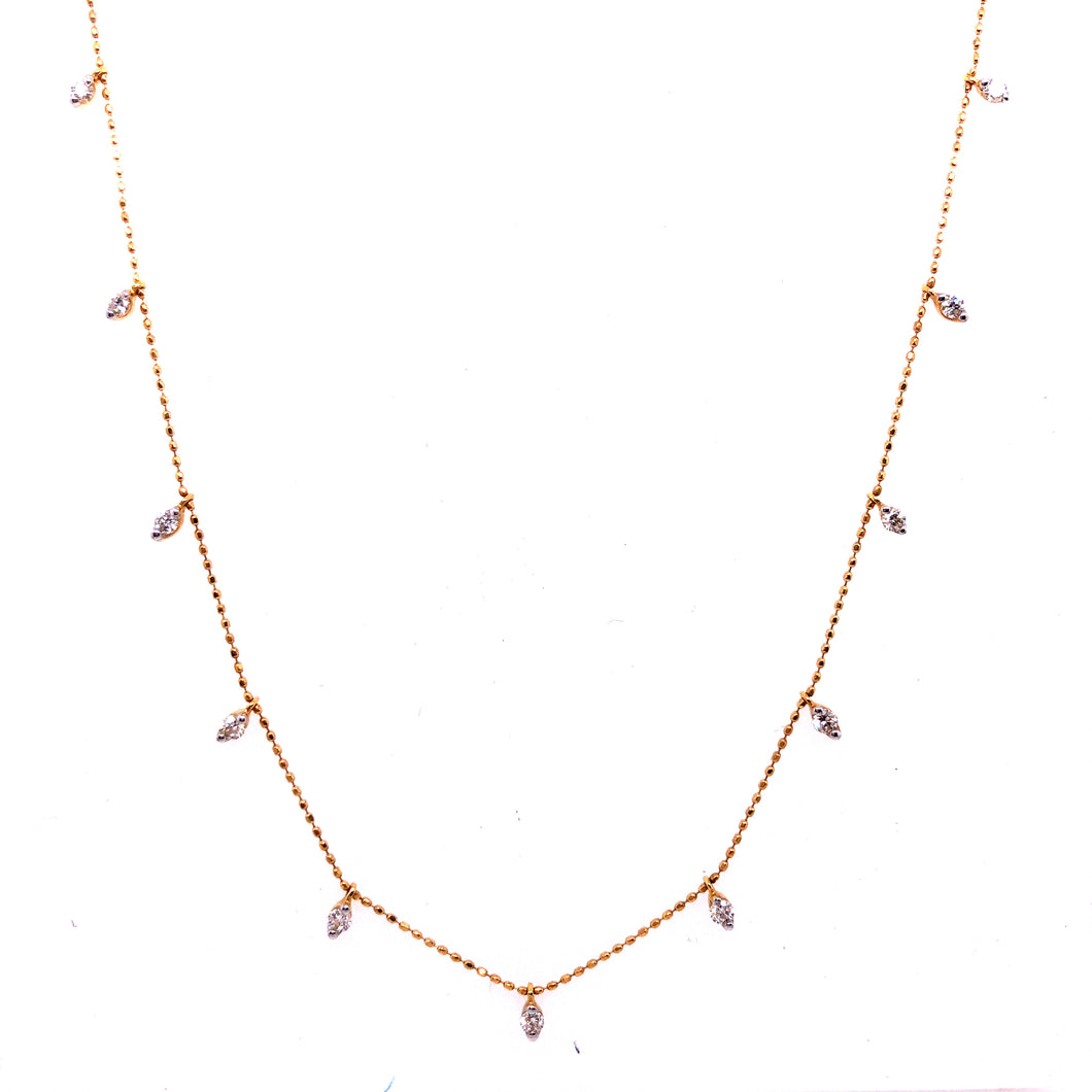 18k Yellow Gold Diamond Station Necklace - CaleesiDesigns