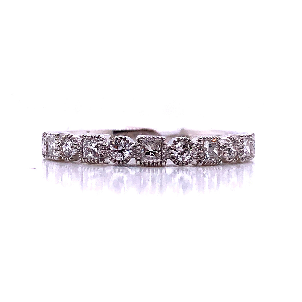 14kt White Gold Diamond Stack Ring - CaleesiDesigns