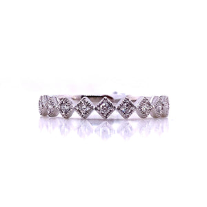14k White Gold Diamond Stack Ring - CaleesiDesigns