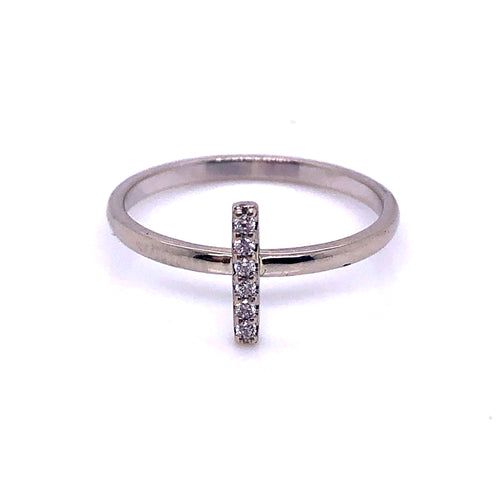 14k White Gold Diamond Bar Ring - CaleesiDesigns