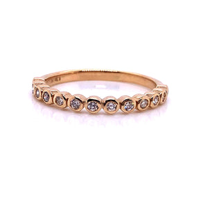 14k Yellow Gold Diamond Bezel Set  Ring - CaleesiDesigns