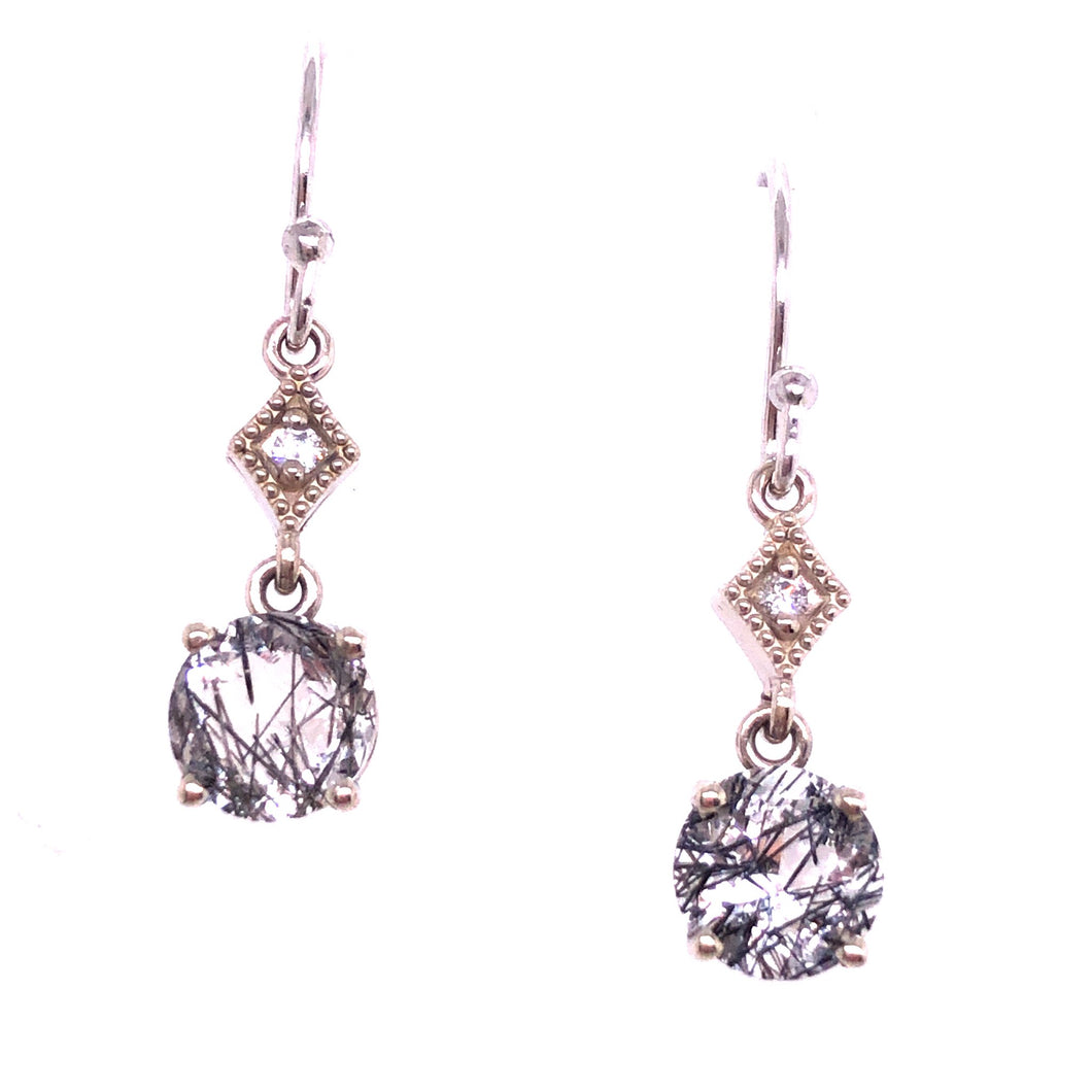 Rutilated Quartz Diamond Dangle Earrings - CaleesiDesigns